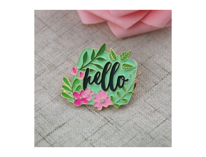 Flower Pin With Hello