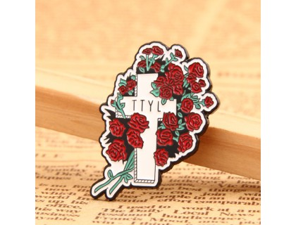 Cross and Flower Lapel Pins